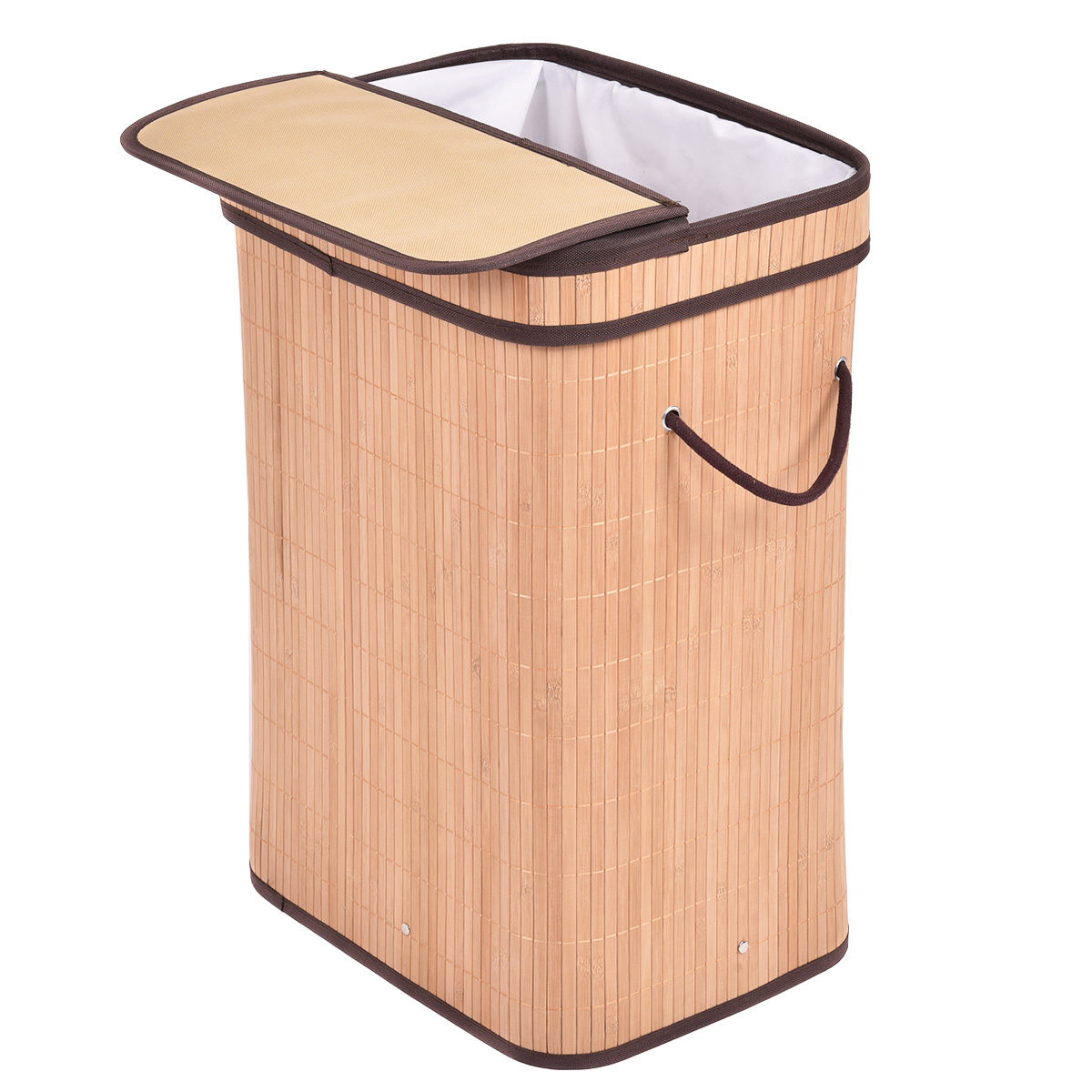 Rectangular Bamboo Laundry Hamper Basket with Lid