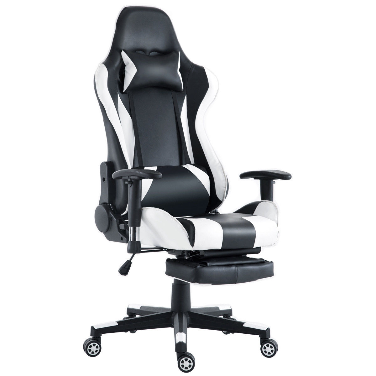 White High Back Racing Recliner Gaming Chair with Footrest
