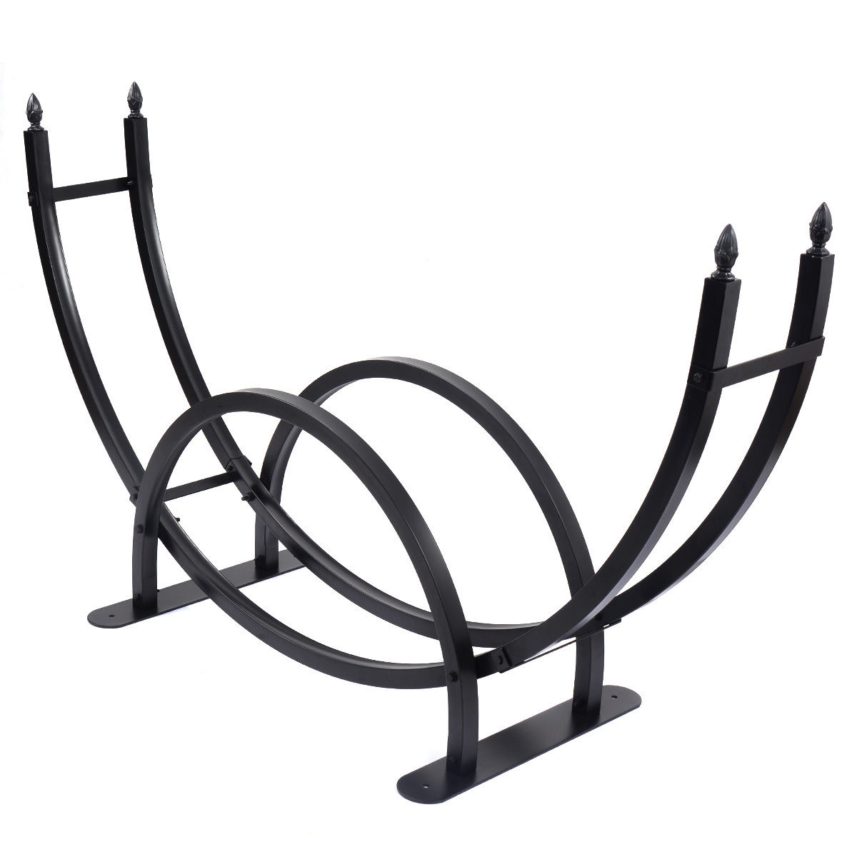 "70"" Metal Black Firewood Log Rack Holder"