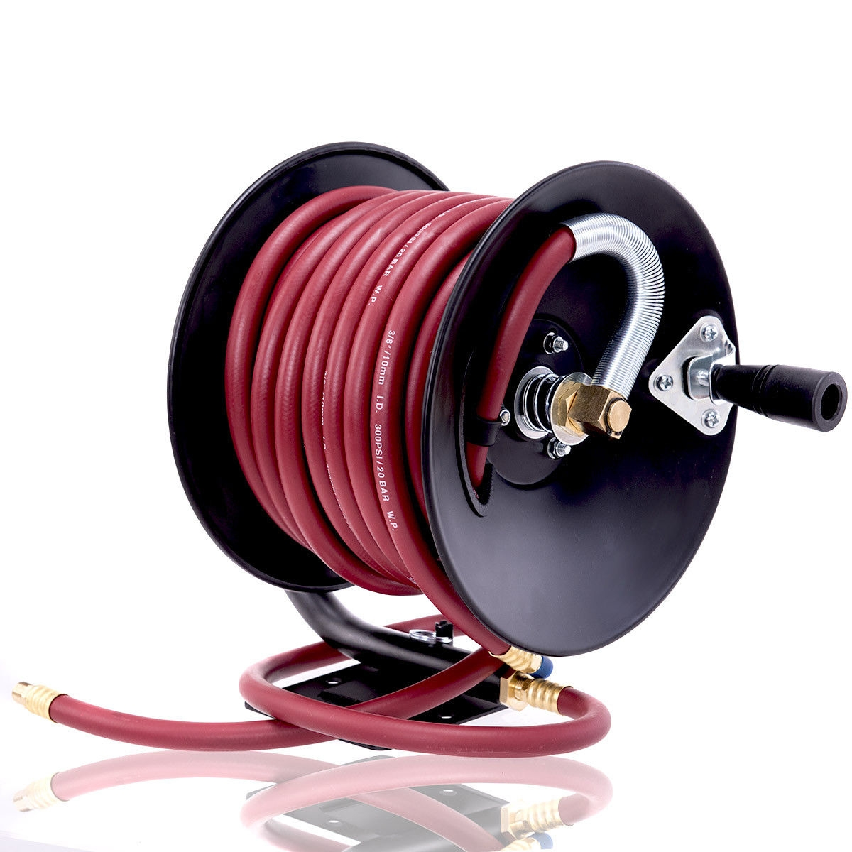 Manual Air Hose Reel with Rubber Air Compressor Hose