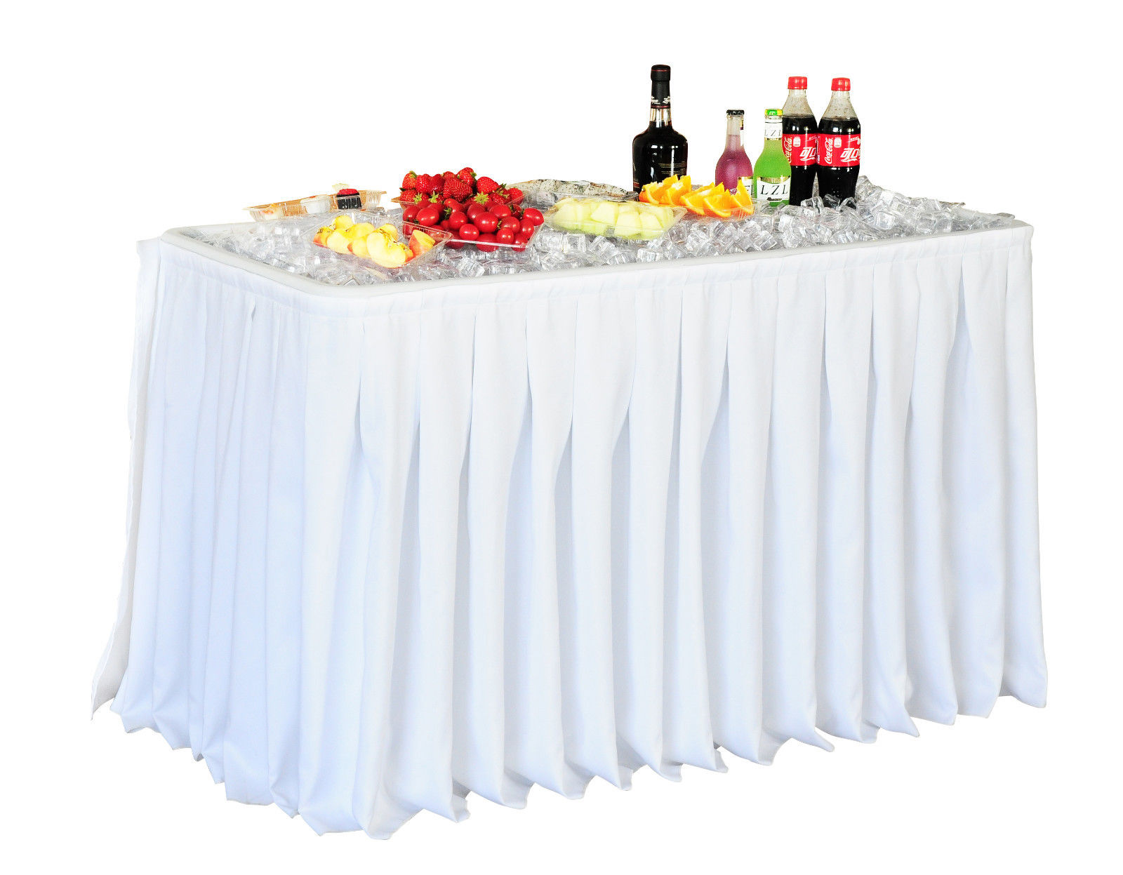 4 Foot Party Ice Folding Table Plastic With Matching Skirt image