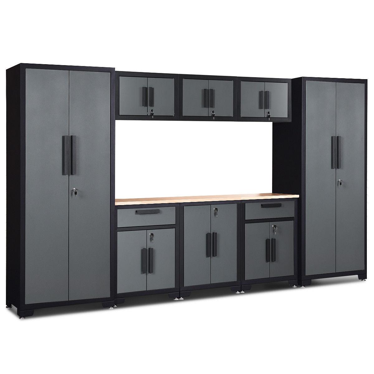 9 Pcs Big Steel Garage Storage Cabinet Set
