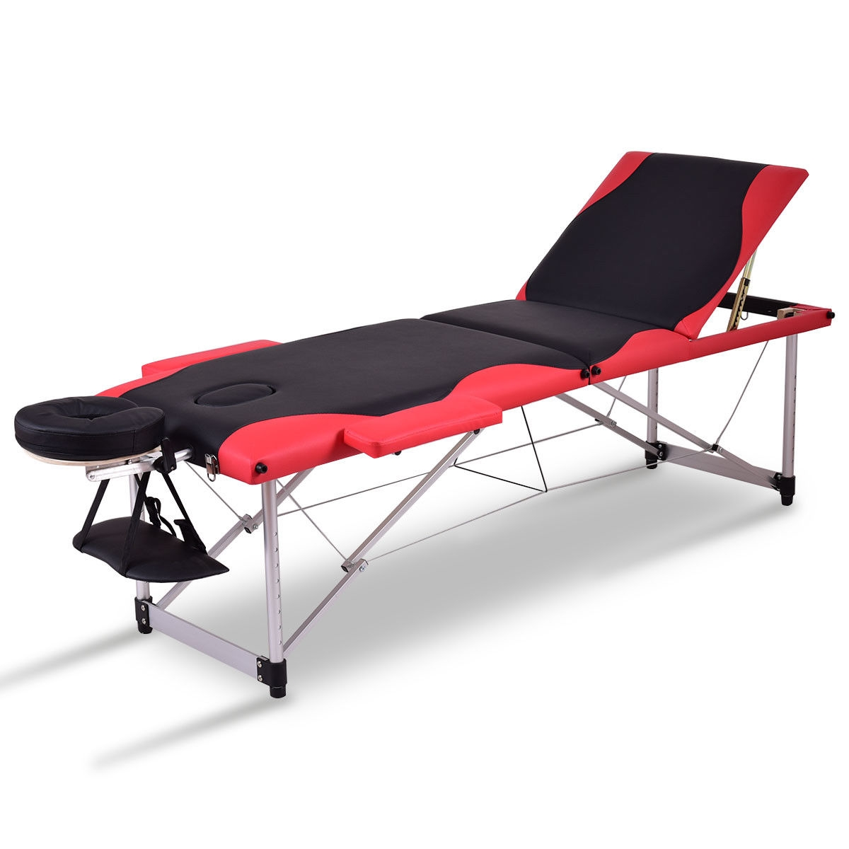 """Black & Red 72""""L Portable Massage Table w/Free Carry Case HB84981"""