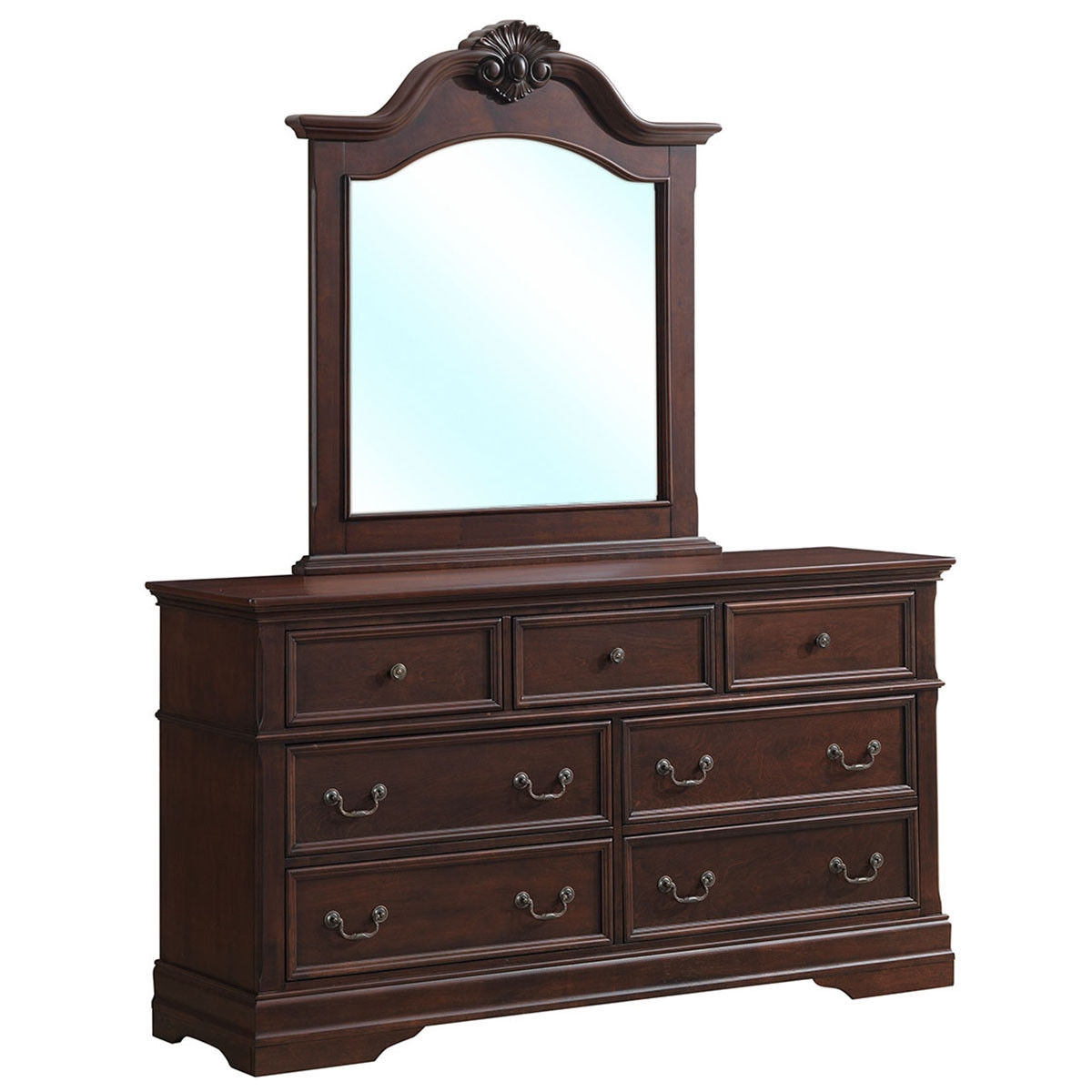 7 Drawers Luxury Chest Dresser Mirror Storage Set
