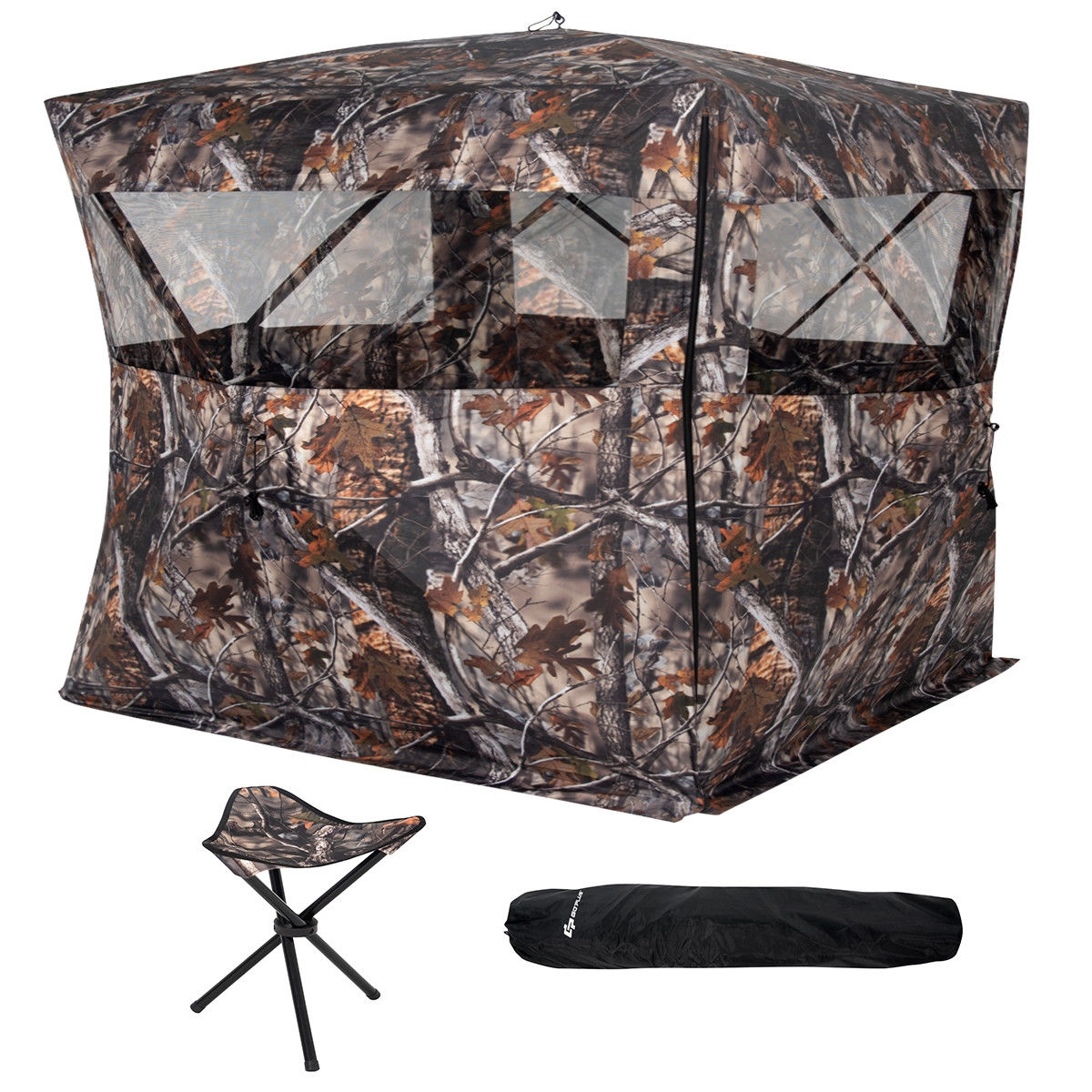Portable Camo Waterproof Pop Up Ground Hunting Blind Stool Set thumbnail