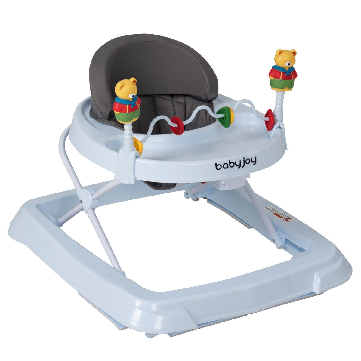Adjustable Height Removable Folding Portable Baby Walker-Gray
