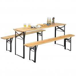 3-Piece Costway Folding Wooden Picnic Table Bench Set