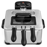 Electric Deep Fryer 5.3QT/21-Cup Stainless Steel 1700W with Triple Basket
