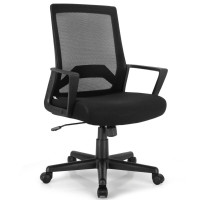 Height Adjustable Mid Back Task Chair Mesh Office Chair with Lumbar Support