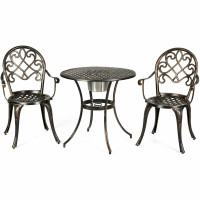 3 pcs Outdoor Set Patio Bistro with Attached Removable Ice Bucket