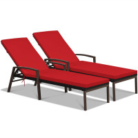 2 Pieces Patio Rattan Adjustable Back Lounge Chair