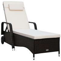 Outdoor Recliner Cushioned Chaise Lounge with Adjustable Backrest