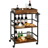 3-Tier Kitchen Serving Bar Cart with Lockable Casters and Handle Rack for Home Pub