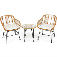 3 Pieces Rattan Furniture Set with Cushioned Chair Table