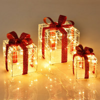 Set of 3 Christmas Lighted Gift Boxes Christmas Box Decorations with 60 LED Lights
