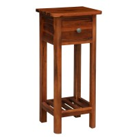 2 Tier End Bedside Sofa Side Table with Drawer Shelf Acacia Wood Nightstand