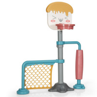 3-in-1 Height Adjustable Basketball Stand Set with Soccer and Roller