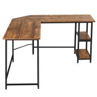 L Shaped Corner Computer Desk with Storage Shelves for Home Office Work