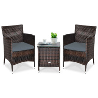 3 Pcs Patio Wicker Rattan Outdoor Furniture Conversation Set with Coffee Table for Garden Lawn Backyard Poolside