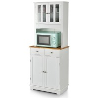 Kitchen Pantry Cabinet with Wood Top and Hutch