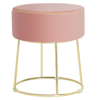 Velvet Round Footrest Ottoman with Metal Base and Non-Slip Foot Pads