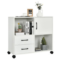 Mobile File Cabinet with Lateral Printer Stand and Storage Shelves