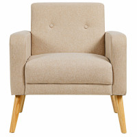 Modern Accent Chair Upholstered Linen Armchair with Rubber Wood Legs