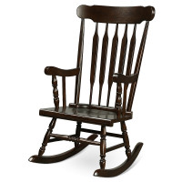Solid Wood Porch Glossy Finish Rocking Chair