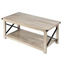 Rustic Accent Coffee Table Metal X Shaped Side Cocktail Table with Storage Shelf