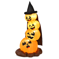 7 Feet Halloween Inflatable Pumpkin Combo with Witch's Hat and LED Lights