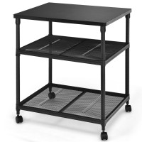3 Tier Printer Stand Rolling Fax Cart with Adjustable Shelf and Swivel Wheels