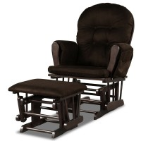 Solid Wood Gliding Chair Set with Pockets and Ottoman for Relaxing