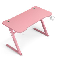 """47"""" Z-Shaped Computer Table with Cup Holder Headphone Hook"""