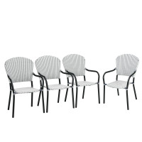 Set of 4 Patio Rattan Stackable Dining Chair with  Armrest for Garden