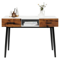 48 Inch Industrial Console Table with Storage Drawers Open Shelf Entryway