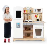 Wooden Kids Pretend Kitchen Playset Cooking Play Toy with Utensils and Sound