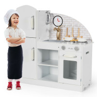 Kids Kitchen Playset Pretend Play Cooking Set with Vivid Faucet and Telephone