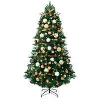 Artificial Christmas Tree with Ornaments and Pre-Lit Lights