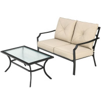 2 PCS Patio Outdoor Cushioned  Sofa Bench with Coffee Table