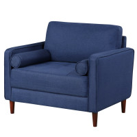 Accent Oversized Linen Club Armchair with Pillows and Rubber Wood Legs