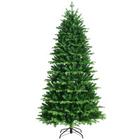 Realistic Pre-Lit Hinged Christmas Tree with Lights and Foot Switch