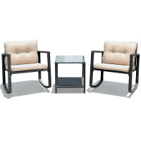 3 Pcs Cushioned Patio Rattan Set with Rocking Chair and Table