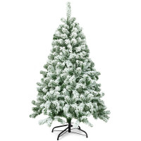 4.5 Feet Snow Flocked Artificial Christmas Tree with 400 Tips and Foldable Base