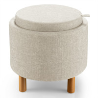 Round Storage Ottoman with Tray Top Accent Padded Footrest