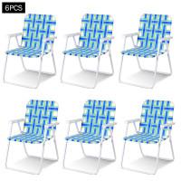 6 pcs Folding Beach Chair Camping Lawn Webbing Chair