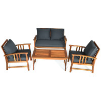 4 Pieces Wooden Patio Sofa Chair Set with Cushion
