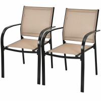 Set of 2 Patio Stackable Dining Chairs with Armrests Garden Deck