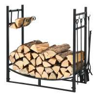 30 Inch Firewood Rack with 4 Tool Set Kindling Holders for Indoor and Outdoor