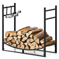 33 Inch Firewood Rack with Removable Kindling Holder Steel Fireplace Wood