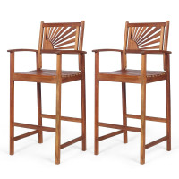 2 Pieces Outdoor Acacia Wood Bar Chairs with Sunflower Backrest and Armrests